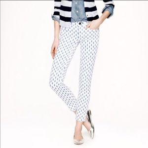 J.Crew White Toothpick Ankle Jeans Thistle Print